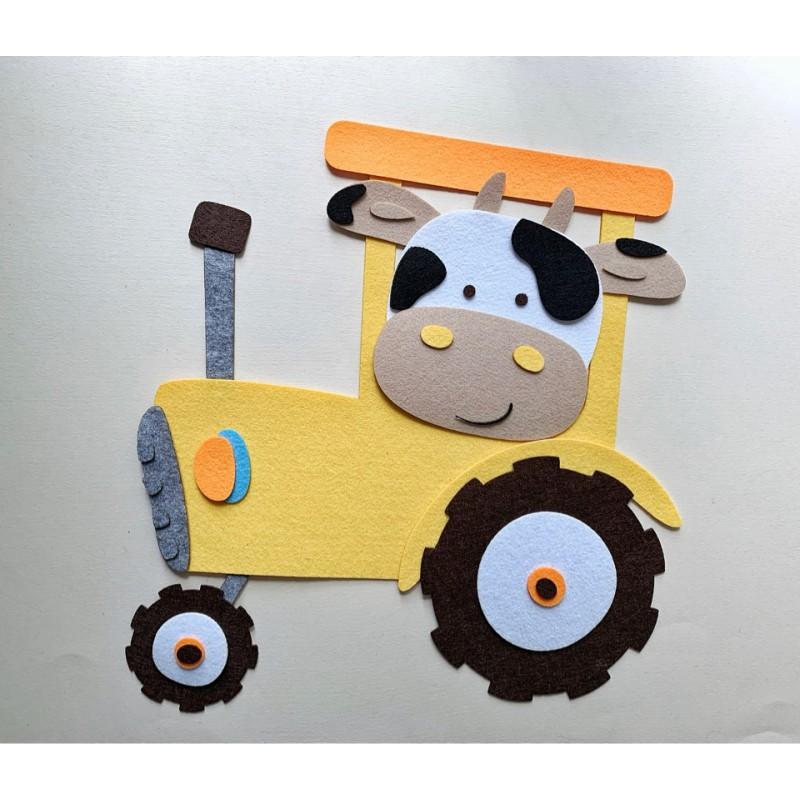 Подарочный набор «Бычок на тракторе» (Питомец из фетра)
