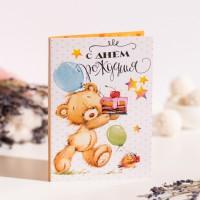 """Открытка 4 шоколадки """"С днем рождения"""" (мишка)"""