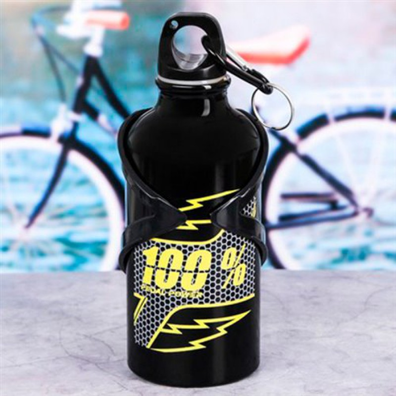"""Бутылка для воды 400мл """"100%"""" с велосипедным держателем"""