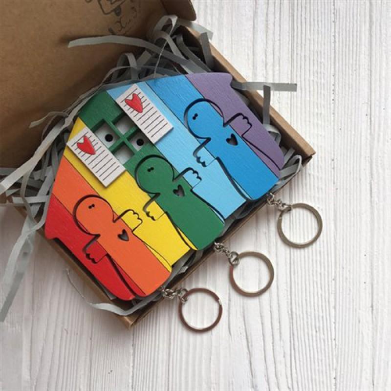 """Ключница """"Человечки"""" (для троих, цвет радуга)"""