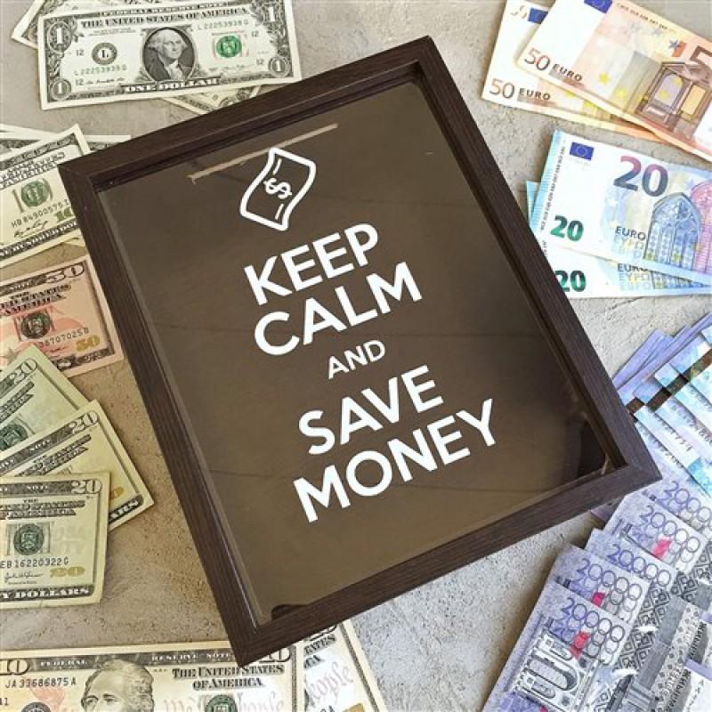 """Копилка """"Keep calm and Save money"""" (коричневый, белый и черный)"""