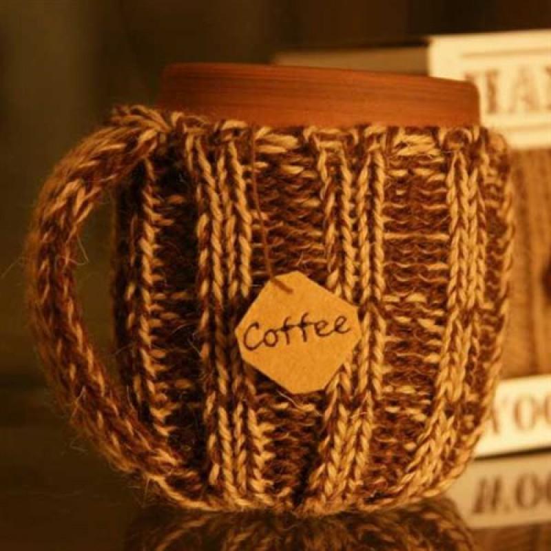 Кружка вязаная (кофейно-молочные оттенки)