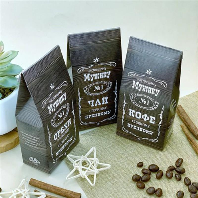 """Набор подарочный """"Мужику""""коричневый орехи,чай,кофе"""